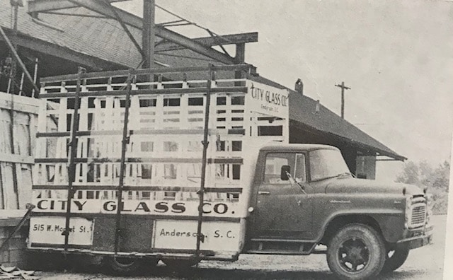 Old Picture of City Glass Truck - Historic Commercial Glass Company in Anderson, SC